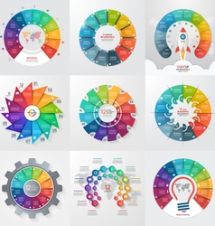 set of 9 circle infographic templates 12 options vector image vector image