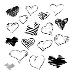 set of flourish doodle calligraphy vintage hearts vector image vector image