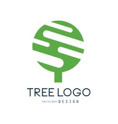 tree logo original design green eco badge vector image