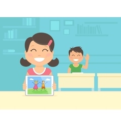 Young girl show her graphic on the vector image