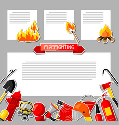 background with firefighting sticker items fire vector image