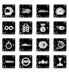 car race icons set grunge vector image