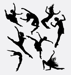Contemporary dancer pose silhouette vector