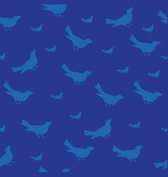 dark blue bird silhouet seamless pattern vector image