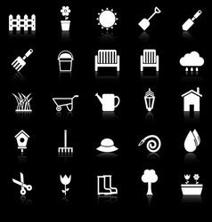 Gardening icons with reflect on black background vector image vector image