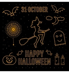 Linear trendy happy halloween silhouettes witch vector image vector image