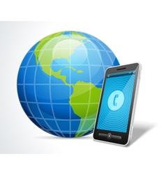 Mobile phone and globe icon vector image vector image