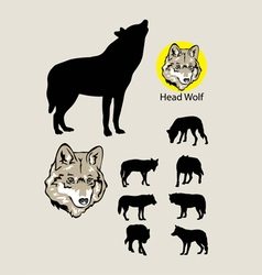 Wolf Silhouettes and Logo vector image vector image