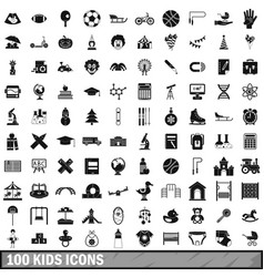 100 kids icons set in simple style vector image vector image