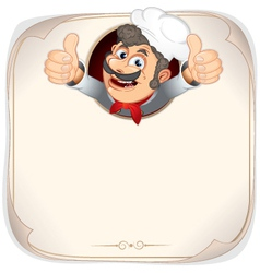 cartoon chef with menu background vector image