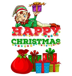 Christmas theme with elf and presents vector image