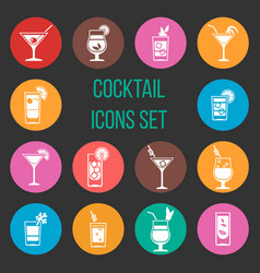 colorful cocktail icons set vector image