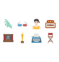 films and cinema icons in set collection for vector image vector image