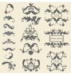 Set monograms floral ornaments baroque style vector image