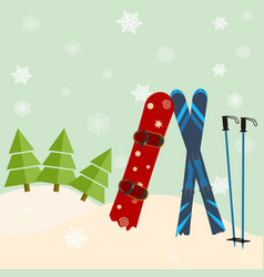 skis and snowboard stick out of snow before a vector image vector image