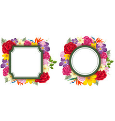 two frame templates with colorful flowers vector image vector image