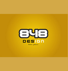 848 number numeral digit white on yellow vector