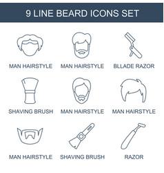 9 beard icons vector
