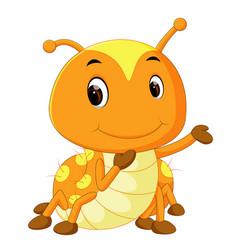 A yellow caterpillar cartoon vector