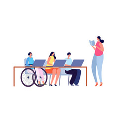 Accessible environment disabled child in school vector