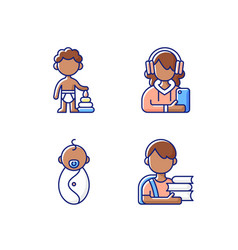 Aging process rgb color icons set vector
