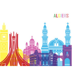 Algiers skyline pop vector