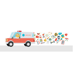 Ambulance with doctor and icons cartoon flat vector