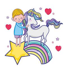 boy with unicorn vector image