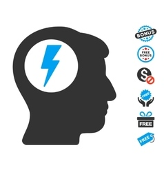 Brain electric shock icon with free bonus vector