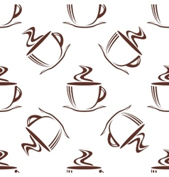 Brown steaming cups seamless pattern vector