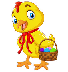 Cartoon baby chick holding a basket of easter egg vector