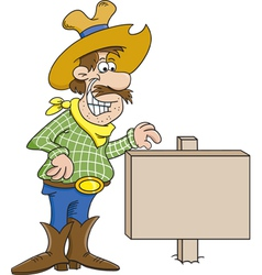 Cartoon Cowboy with a Sign vector image