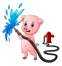 Cartoon pig with hose spraying water and fire hydr vector