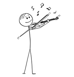 cartoon violinist playing music on violin vector image