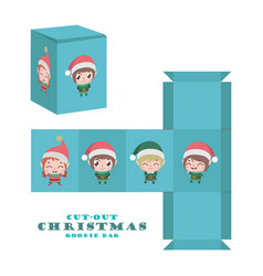 Christmas cut-out goodie bag with cute jolly elves vector