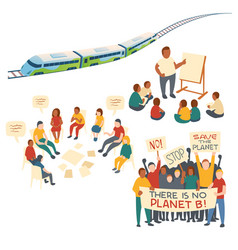 Clip art eco transport and protest action vector