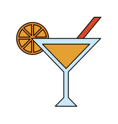 Cocktail with garnish icon image vector