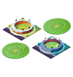 Cricket pitch or grass field and sport stadiums vector
