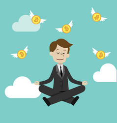 crypto-currency market businessman doing yoga in vector image
