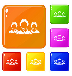 Customer support operators icons set color vector