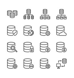 database system icon set vector image