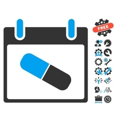 Drugs Pill Calendar Day Icon With Bonus vector image