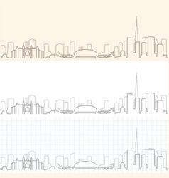 dubai hand drawn skyline vector image