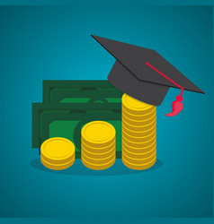 education and money graduation hat and coins cash vector image