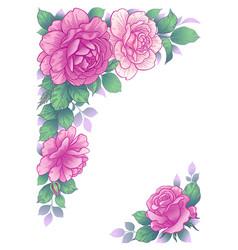 elegant background with rose flowers frame vector image