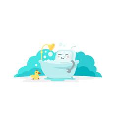 Emoji sticker robot is taking bathin in the vector