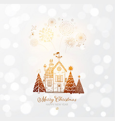 firework in sky small snow covered house and vector image