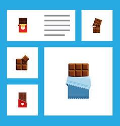 Flat icon bitter set of chocolate bar bitter vector