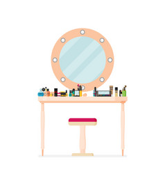 flat table with cosmetics vector image