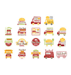 Food truck cafe street promo signs collection of vector